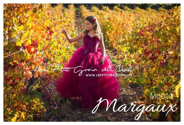 robe tutu princesse fille demoiselle d'honneur mariage cérémonie bustier coeur velours jupe tulle bordeaux