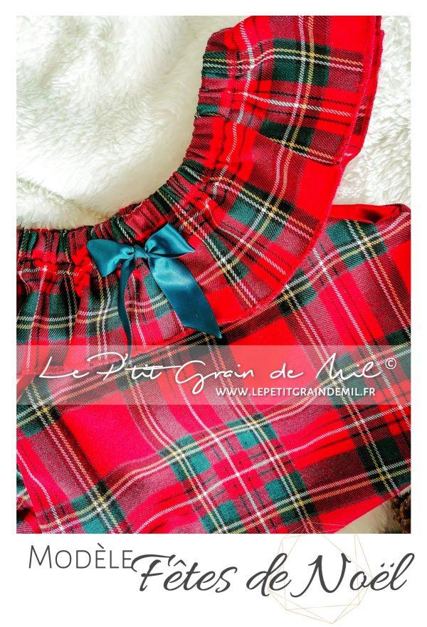 tenue de Noël bébé en tartan Tissus écossais à carreaux bébé fille réveillon