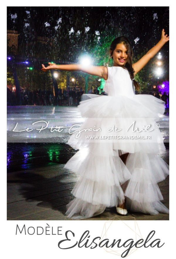 robe cérémonie mariage enfant luxe créateur en tulle avec traine amovible