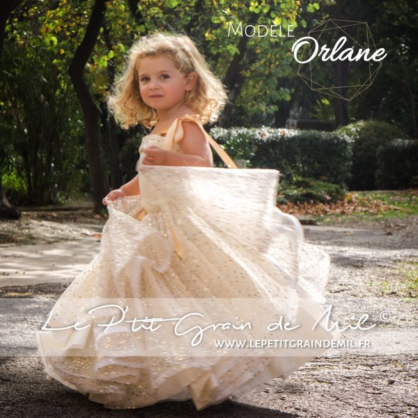 robe cérémonie mariage enfant petite fille or dorée ivoire sequins paillettes