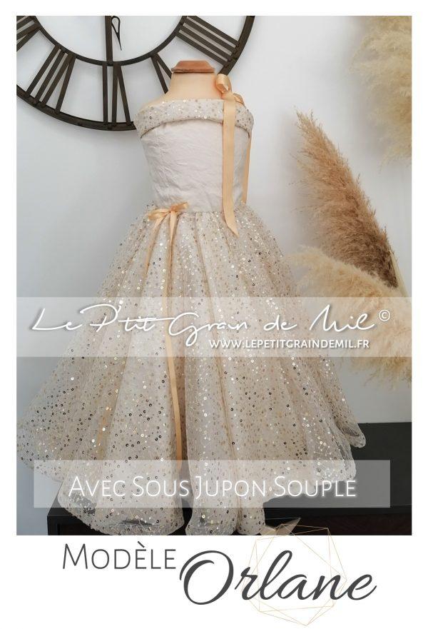 robe de cérémonie fille demoiselle d'honneur mariage or dorée