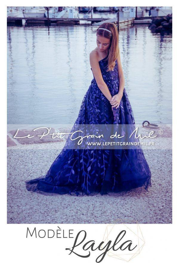 robe de cérémonie mariage ado luxe 10 12 14 ans bleu marine à paillettes