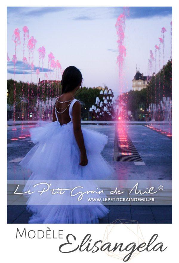 robe de cérémonie mariage demoiselle d'honneur luxe créateur enfant fille blanche en tulle et perles