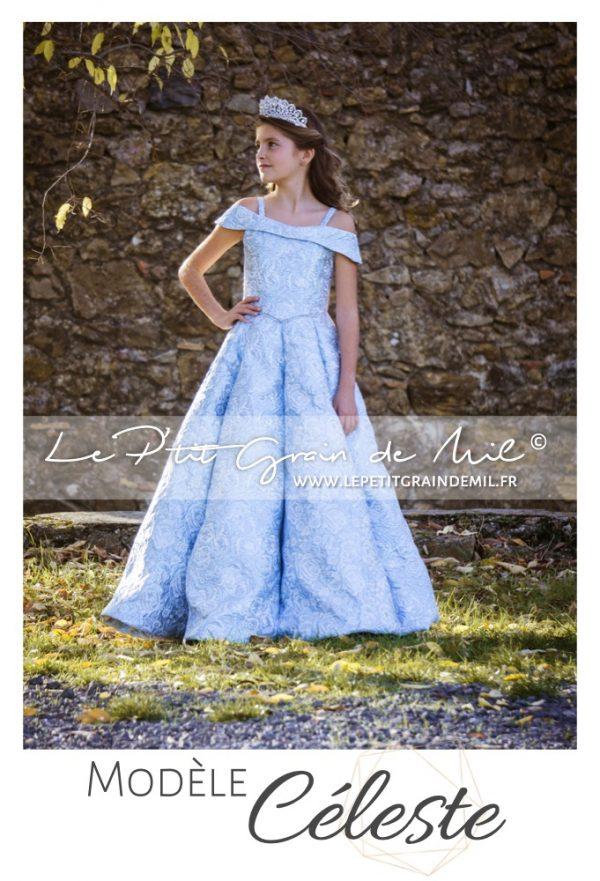 robe de cérémonie mariage luxe enfant petite fille ado brocart
