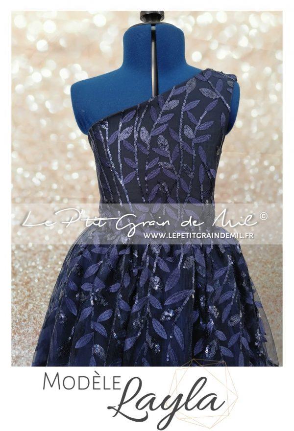 robe de cérémonie mariage luxe pour ado bleu nuit