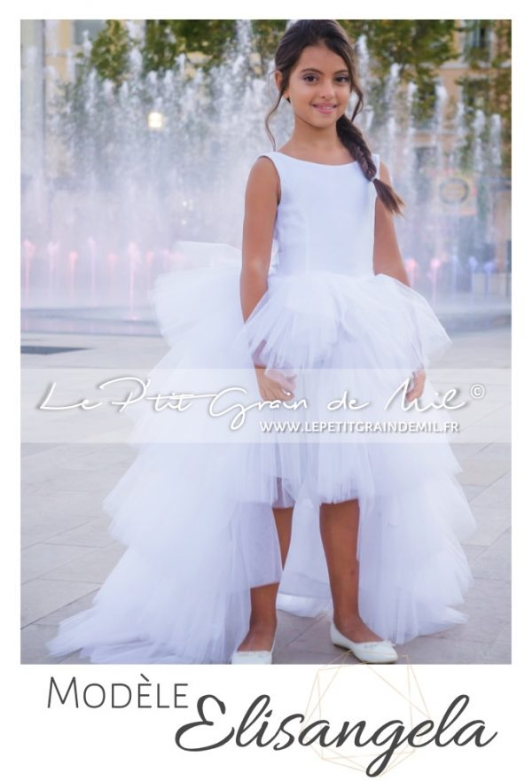 robe de demoiselle d'honneur asymétrique enfant fille blanche traine amovible