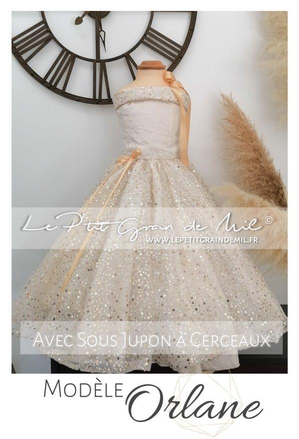 robe de princesse cérémonie enfant fille mariage demoiselle d'honneur or dorée
