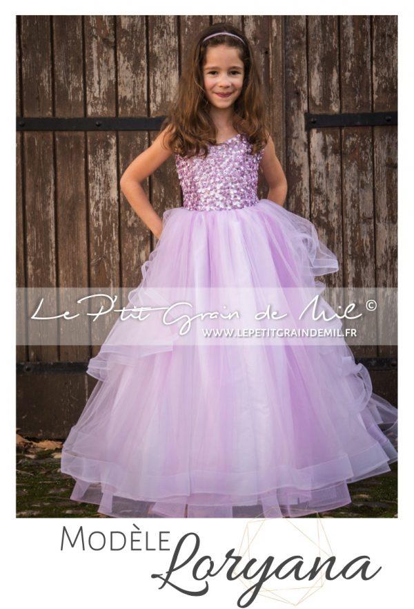 robe de princesse cérémonie mariage pour fille enfant ultra volume en tulle paillettes et sequins mauve lilas