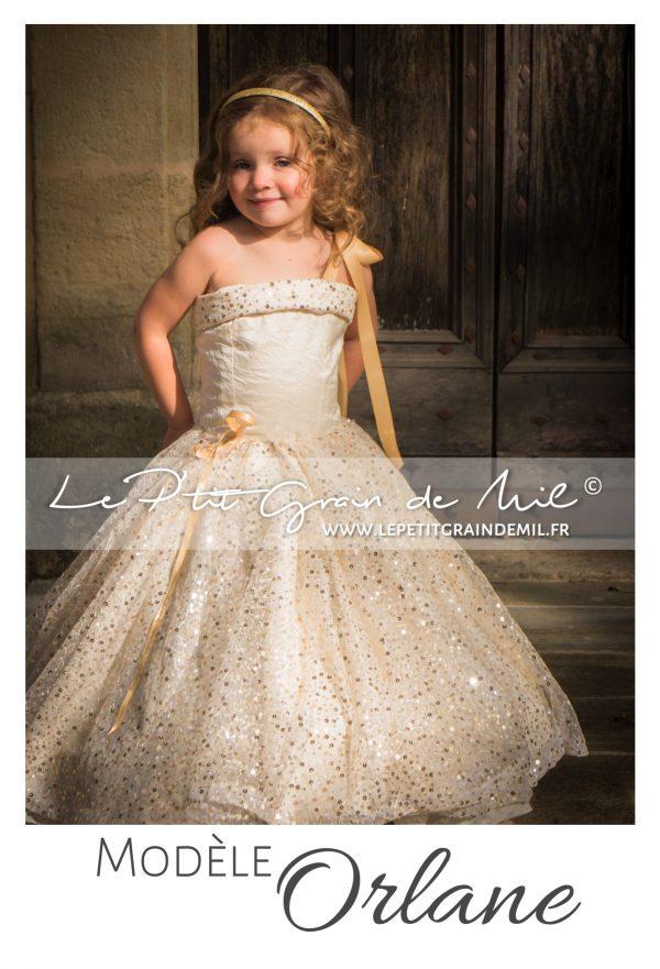 robe de princesse dorée or petite fille mariage cérémonie