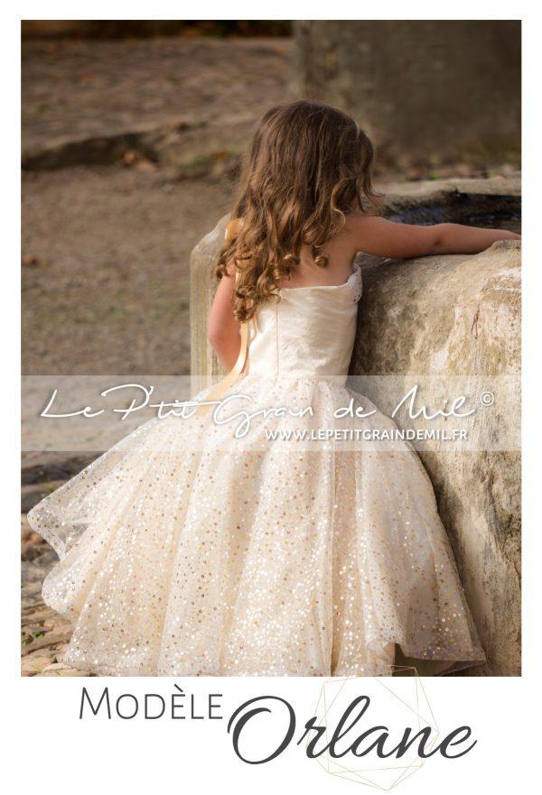 robe de princesse enfant dorée or soirée mariage cérémonie petite fille fillette