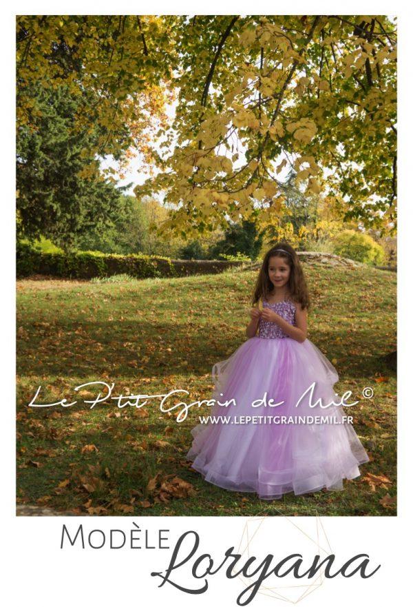 robe de princesse enfant fille mariage cérémonie bustier coeur sequins paillettes jupon tulle ultra volume