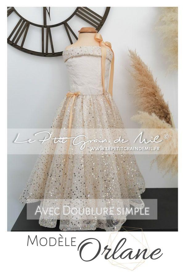 robe de princesse enfant mariage dorée or
