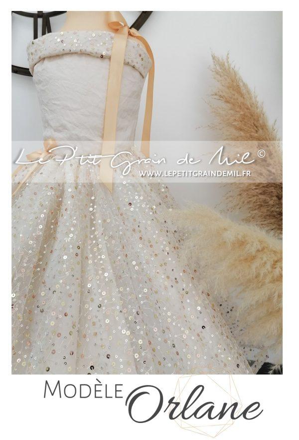 robe de princesse fillette or dorée sequins pour mariage cérémonie