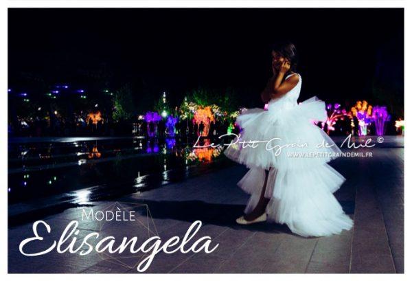 robe de princesse mariage cérémonie luxe créateur enfant fille asymétrique à volants de tulle avec traine