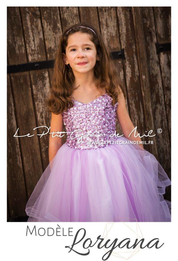 robe de princesse mariage enfant cérémonie mini mariée bustier coeur sequins