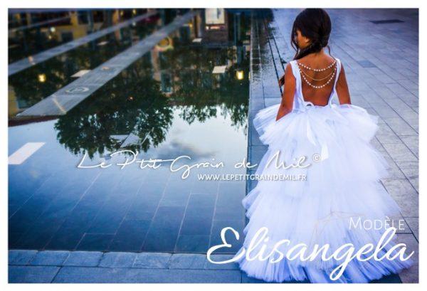 robe de princesse mariage enfant fille à volants blanches perles