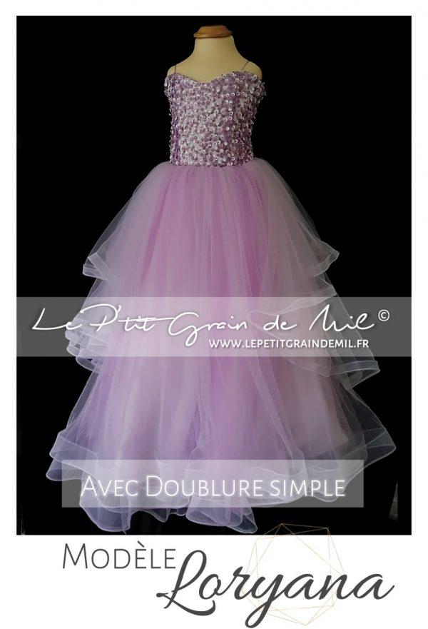 robe de princesse mariage fille jupon en tulle et bustier sequins