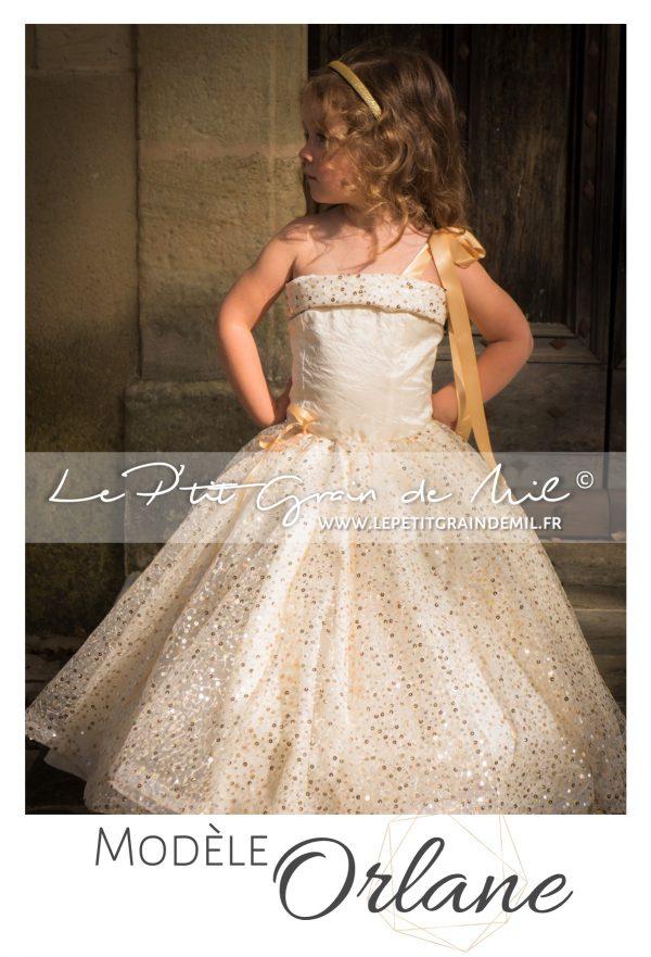 robe de princesse or dorée enfant fillette petite fille mariage cérémonie demoiselle d'honneur