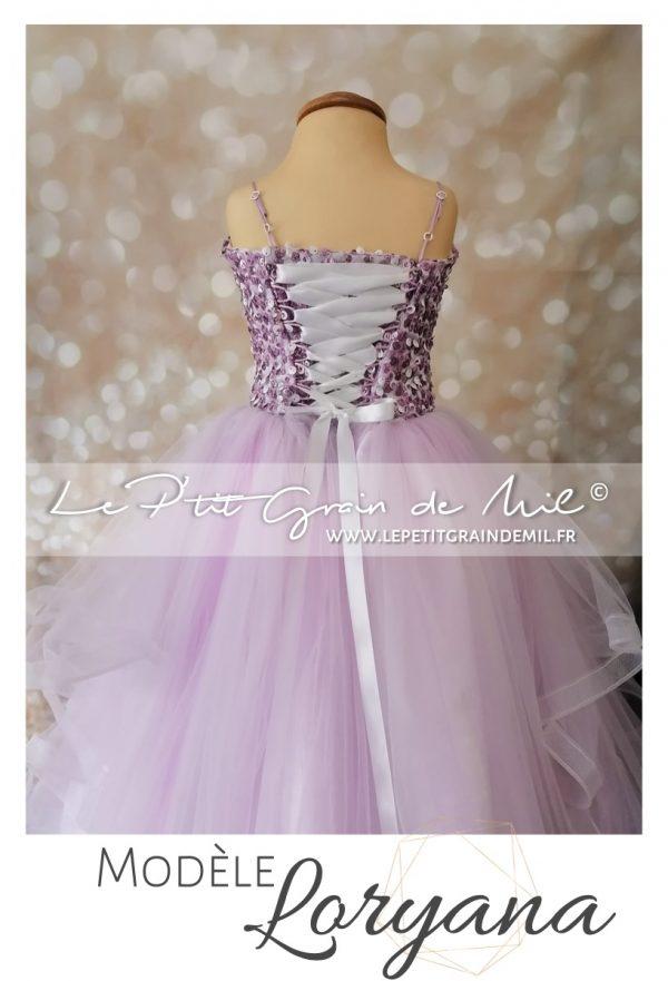 robe de princesse pour enfant fille mauve lilas mariage cérémonie