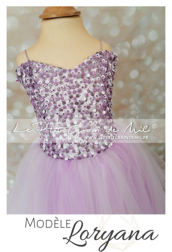 robe de princesse violette enfant mariage cérémonie