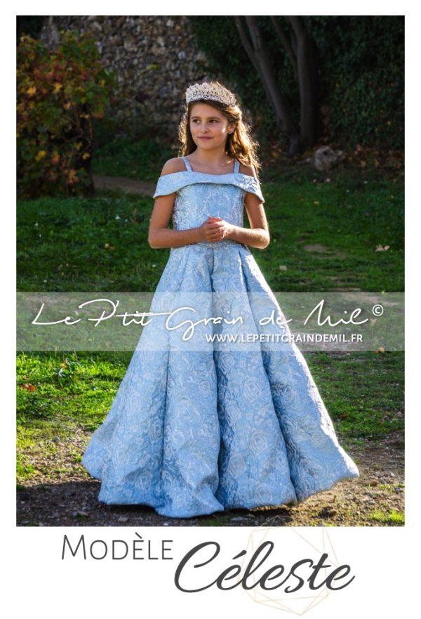 robe de soirée de luxe créateur enfant petite fille ado mariage cérémonie cendrillon