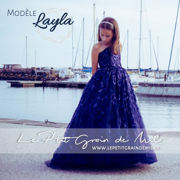 robe demoiselle d'honneur princesse bleu marine nuit à paillettes sequins ado luxe prestige