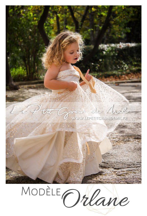 robe pour enfant dorée or mariage cérémonie demoiselle d'honneur sequins paillettes