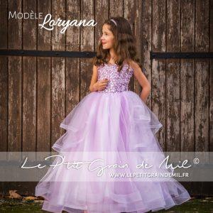 robe princesse mariage ceremonie enfant fille en tulle mauve lilas violet