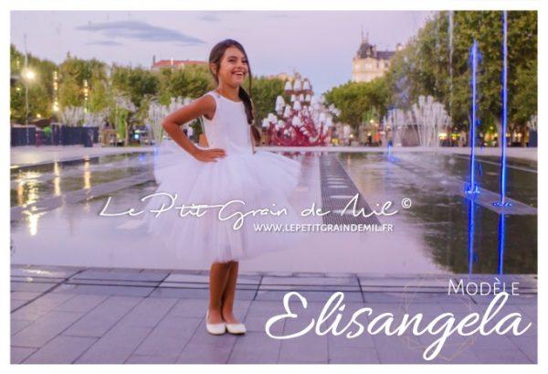 robe tutu de cérémonie mariage enfant fille à volant en tulle