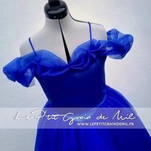robe costume de princesse cendrillon pour femme ado bleu roi pour fille enfant mariage