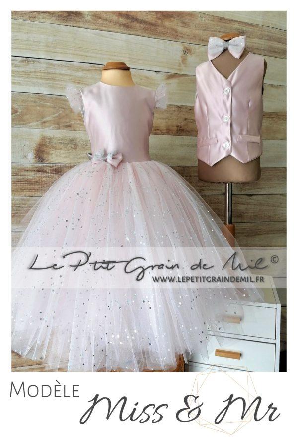 duo vêtement de cérémonie mariage fille garçon rose poudré gilet personnalisé et robe enfant assortie