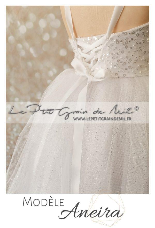 mini robe de mariée princesse pour enfant jupon en tulle pailleté