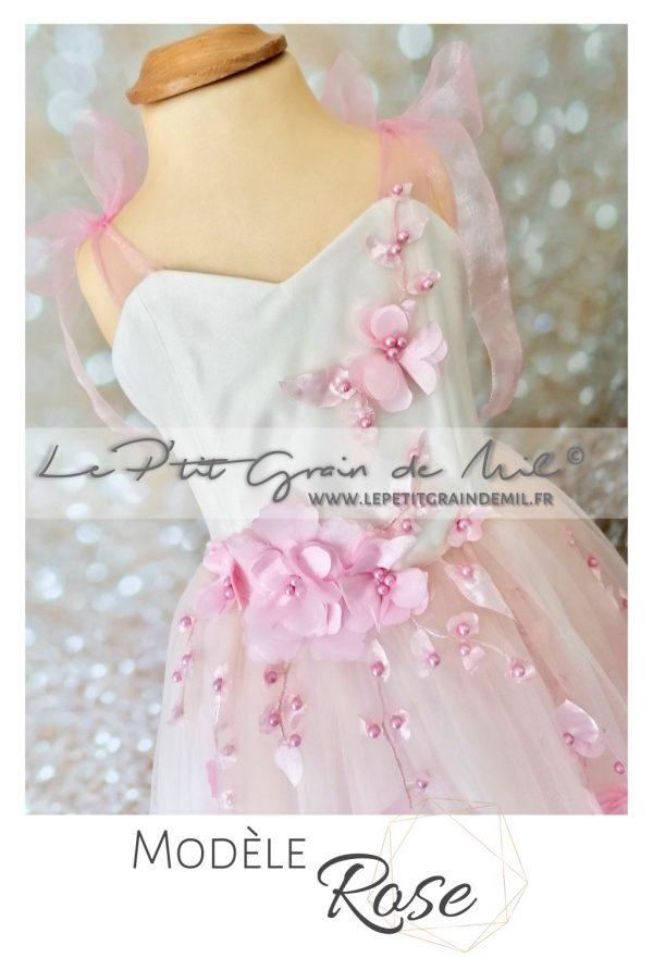 robe de princesse mariage cérémonie fille fleurs rose poudré bustier coeur