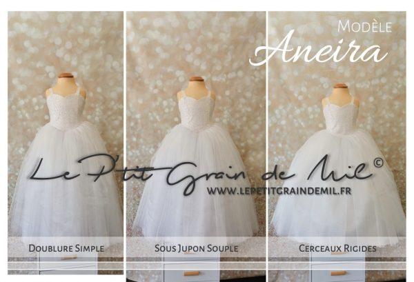 robe de princesse mariage pour enfant fille ultra volume bustier coeur paillettes sequins