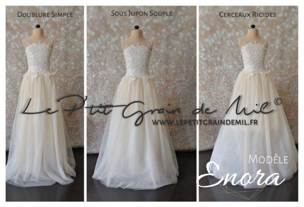 robe luxe mariage fille ado avec traine bustier en dentelle ivoire et rose poudré pêche