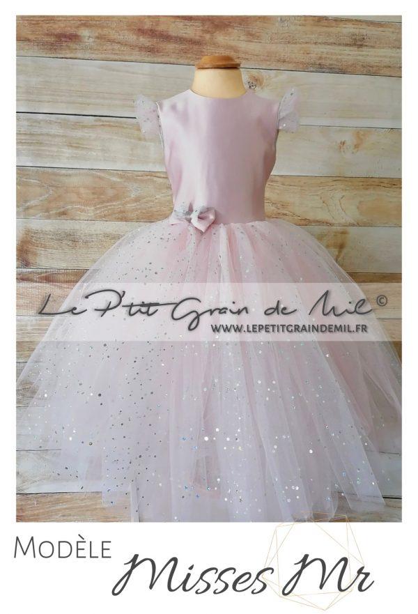 robe petite fille rose poudré gris dos nu cérémonie mariage cortege princesse tutu tulle paillettes