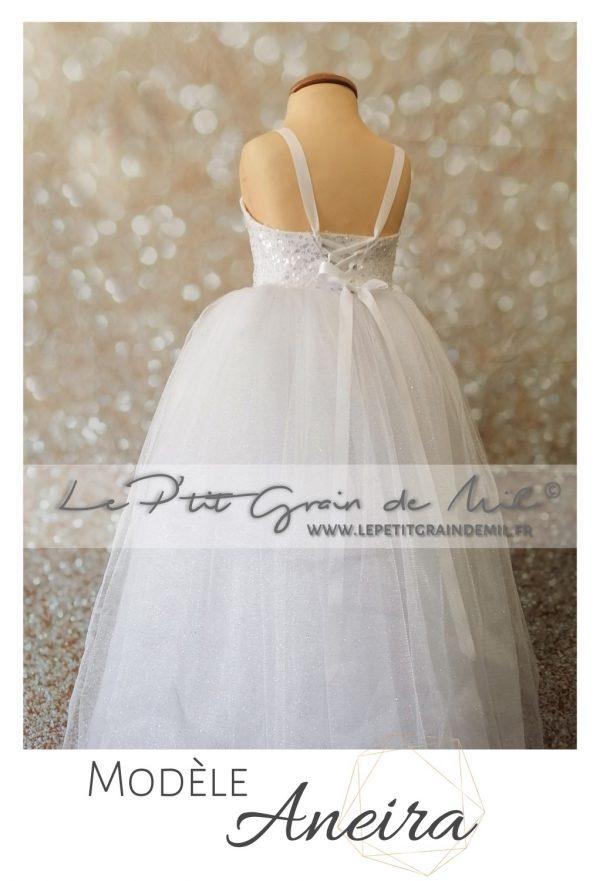 robe tutu de princesse cérémonie mariage enfant petite fille paillettes sequins perles