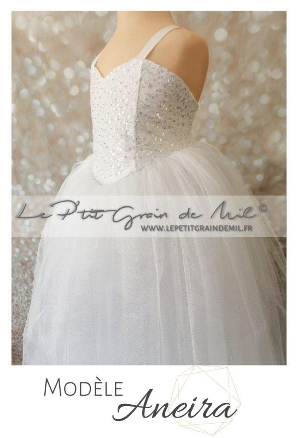 robe tutu de princesse mariage bustier perles sequins paillettes jupon mariée ultra volume paillettes