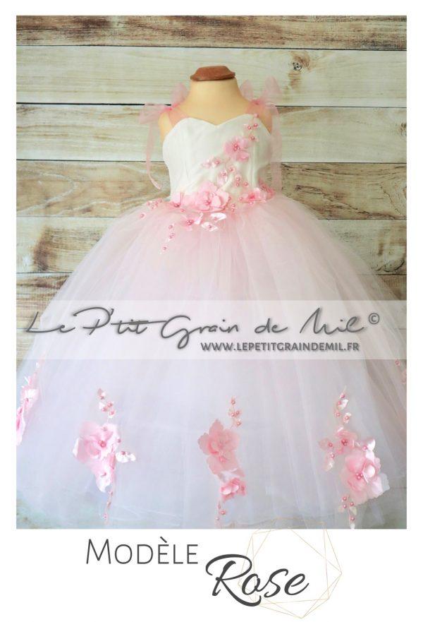 robe tutu de princesse petite fille cérémonie mariage en tulle blanc et rose poudré fleurs romantique