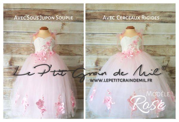 robe tutu de princesse petite fille enfant cérémonie mariage en tulle blanc et rose poudré fleurs thème romantique