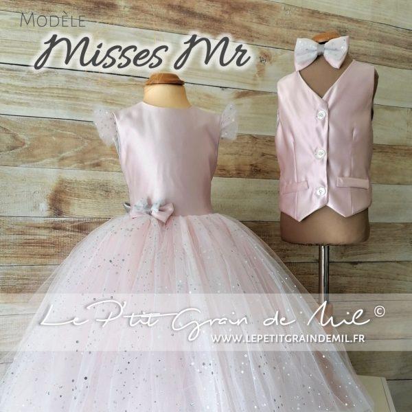 tenue cérémonie mariage fille enfant pantalon rose poudré costume cérémonie pour fille