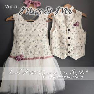 duo vêtement de cérémonie mariage fille garçon gilet cravate personnalisé et robe enfant assortie