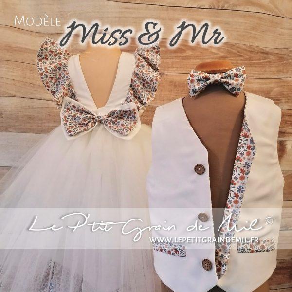 duo vêtement de cérémonie mariage fille garçon gilet personnalisé et robe fillette volants assortie