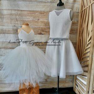 robe de cérémonie bohème champêtre assortie crop top dentelle jupe tutu