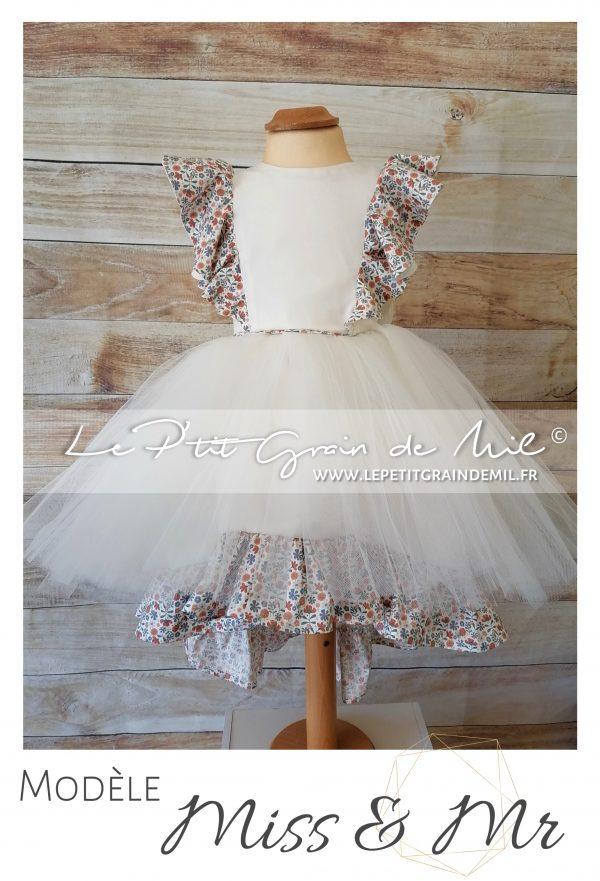 robe de cérémonie fillette à volants liberty dos nu à volants mariage cortege tutu tulle