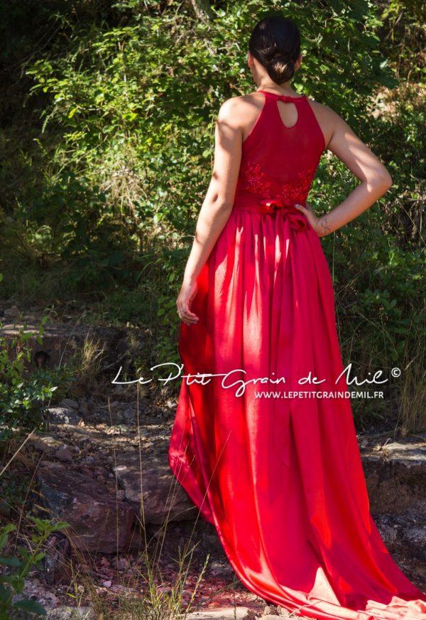 robe de cérémonie rouge avec traine mariage ado princesse femme