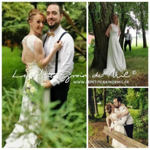robe de mariée bohème champêtre dos nu en mousseline et dentelle