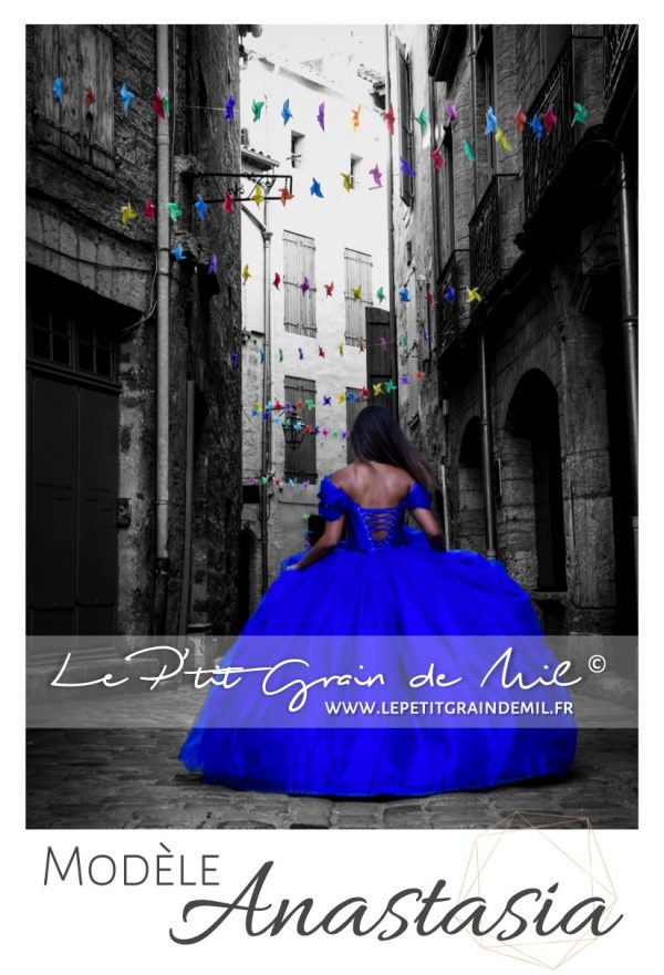 robe de princesse cendrillon femme bleu roi mariage cérémonie en tulle ultra volume
