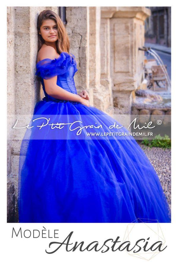 robe de princesse femme bleu roi cendrillon mariage cérémonie en tulle ultra volume