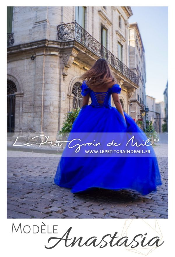 robe de princesse mariage femme bleu roi cendrillon mariage cérémonie en tulle ultra volume